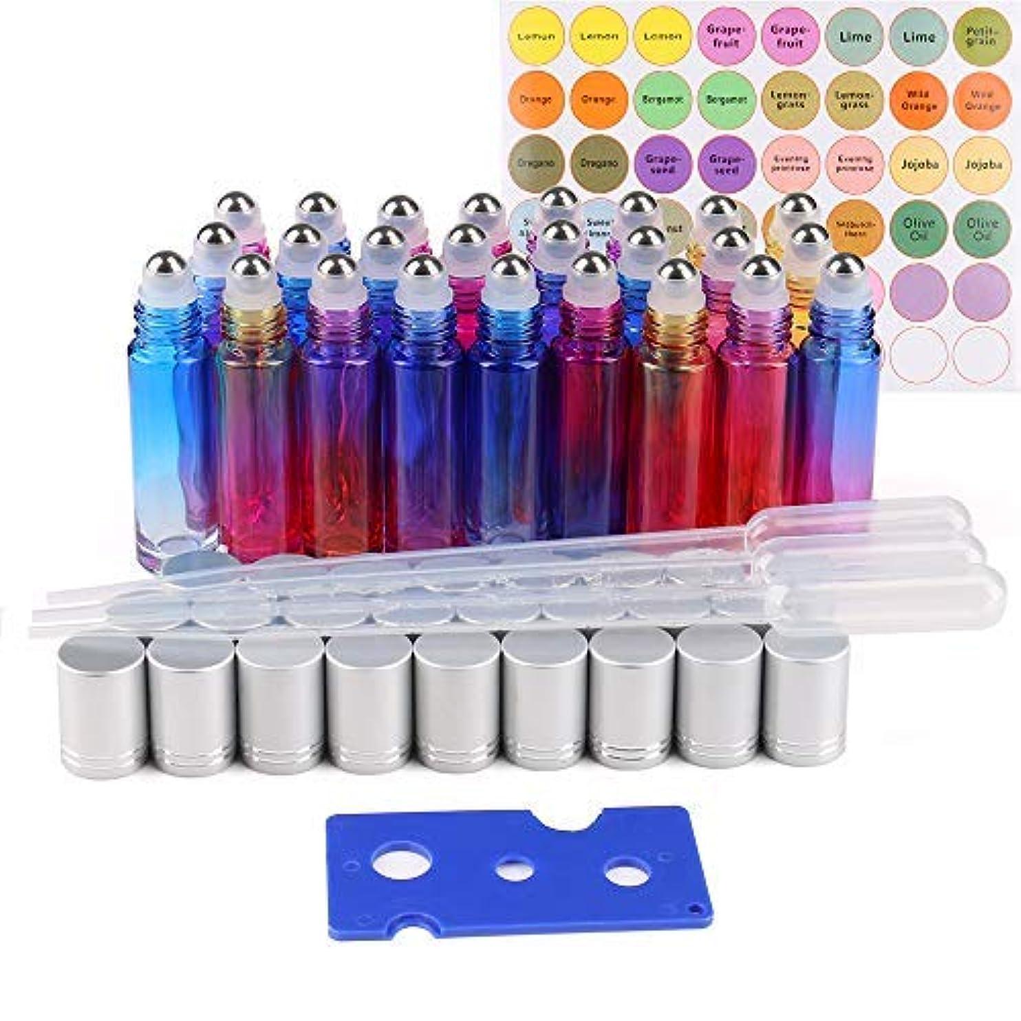 爆風憂鬱な学習25 Pack Essential Oil Roller Bottles, 10ml Gradient Color Roll on Bottles with Stainless Steel Roller Balls for Essential Oils (3 Dropper, 1 Bottle Sticker, 1 Opener) [並行輸入品]