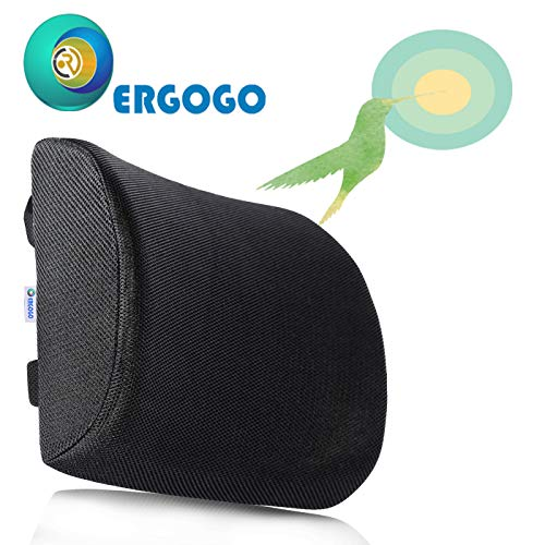 RGOGO Support for Back Memory Foam Lumbar Pillow - Lumbar Protection for The Office Chair - Black Ergonomic Seat Cushion, Lower Back Soft Rest for Car