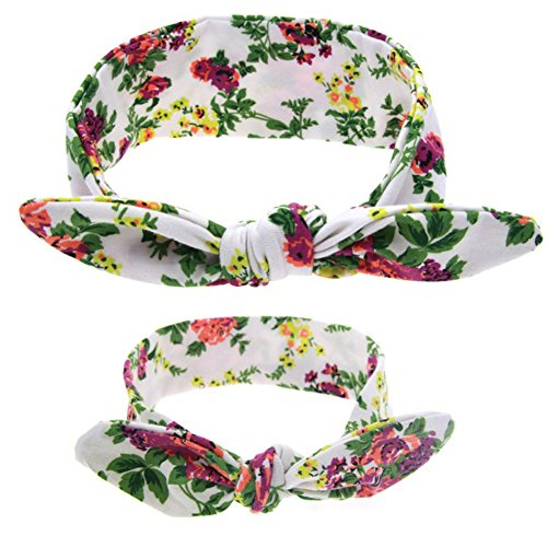 Demarkt 1 Set Bébé et de Mère Bande de Cheveux Bricolage imprimé Oreilles Lapin Headband Fleurs Turban Serre-têtes Elastique Hairband