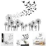 Denti di Leone Neri Stickers Murali Adesivi per Uccelli Volanti Adesivi per Pareti Artistiche Decorazione per Soggiorno Camera da Letto Bagno Cucina e Windows Decalcomanie