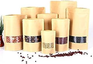 Mangocore 50pcs/lot,Small Stand up Zipper Lock Kraft Paper Packaging Bag with Matte Translucent Window PE Inside Kraft Pap...