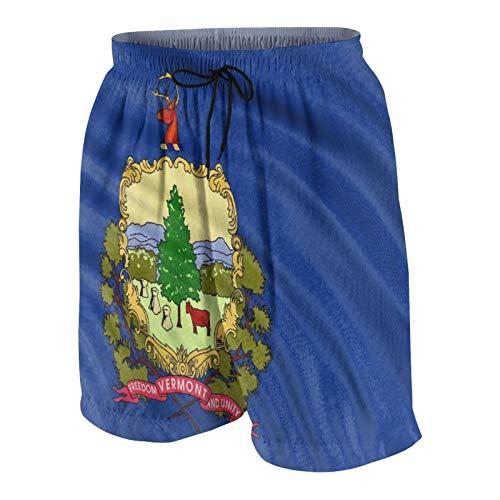 SUHOM De Los Hombres Casual Pantalones Cortos,Bandera de Vermont 3D,Secado Rápido Traje de Baño Playa Ropa de Deporte con Forro de Malla