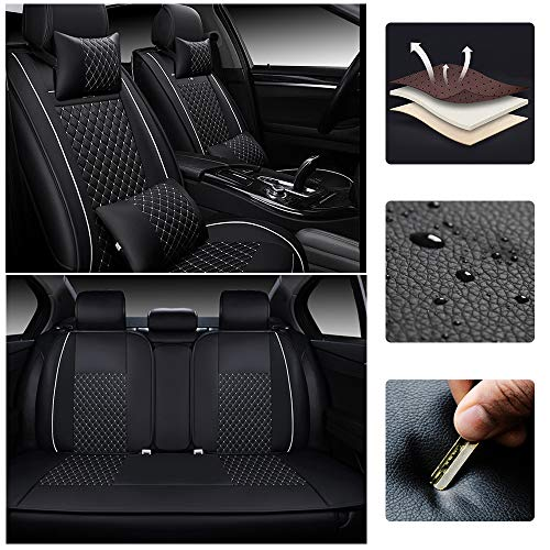 SureMart Car Seat Covers for Mercedes Benz A/B/C/E/G/S/CLA/CLS/EQC/GLA/GLC/GLE Class G/C/E/GT/S AMG 5-Seat Leatherette Car Front and Rear Seat Protector Airbag Compatible Black and White