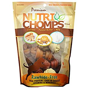 NutriChomps Dog Chews, 4-inch Knots, Easy to Digest, Rawhide-Free Dog Treats, 9 Count, Real Chicken, Peanut Butter and Milk flavor