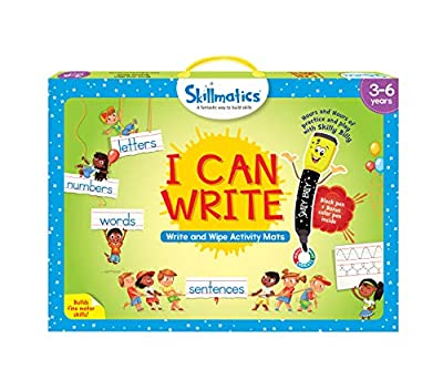 Skillmatics Educational Game: I Can Write (3-6 Years) | Erasable and Reusable Activity Mats with 2 Dry Erase Markers | Learning Tools for Boys and Girls 3, 4, 5, 6 Years by Grasper Global Private Limited