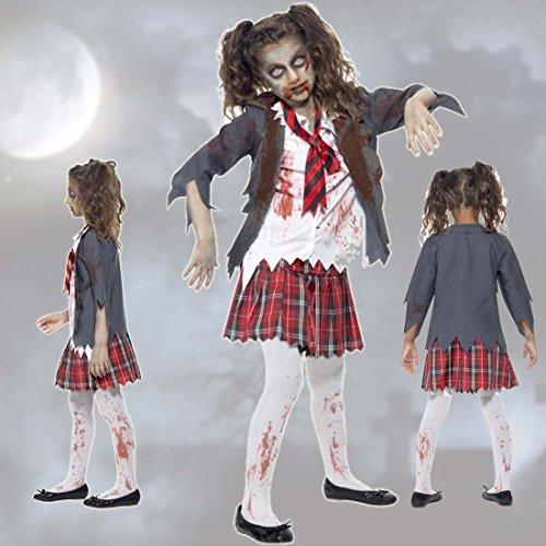 Amakando Traje Colegiala Disfraz de Zombie para niños L 146/152 cm ...