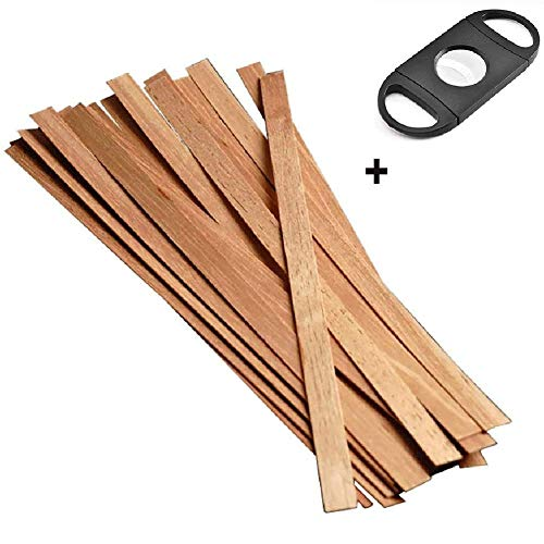 LFLYBCX Cedar Spills Cigar Lighter Strips 20 Sticks, Cigar Sticks Cigars Matches with Cigar Cutter,for Cigars Lighter(Long 25cm)