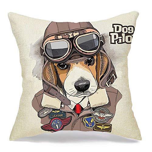 Funda de almohada decorativa de lino, Beagle, aviador, casco de motociclista, chaqueta de cuero, textil, animales, cara, vida silvestre, cabeza, belleza, retro, moda, cómodo, cuadrado, cojín, funda, p