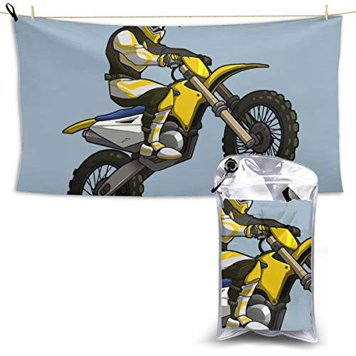 Motocross Rider Clipart Microfiber Oversized Beach Towels, Quick Dry Super Absorbent Sand Free Towel for Swimming & Outdoor
