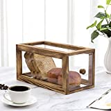 MyGift 13-inch Clear Acrylic Kitchen Bread Loaf Display Case Storage Box w/Rustic Brown Burnt Wood Frame
