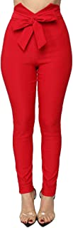 Pofash Women's Slim Paper Bag Waist Pants Trousers Legging with Front Tie Bow