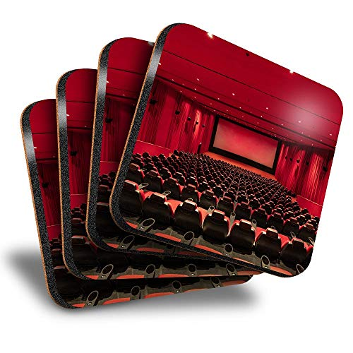 Destination Vinyl ltd Great Coasters (Set of 4) Square - Cinema Seating Movie Theatre Film Drink Glossy Coasters/Tabletop Protection for Any Table Type #44616