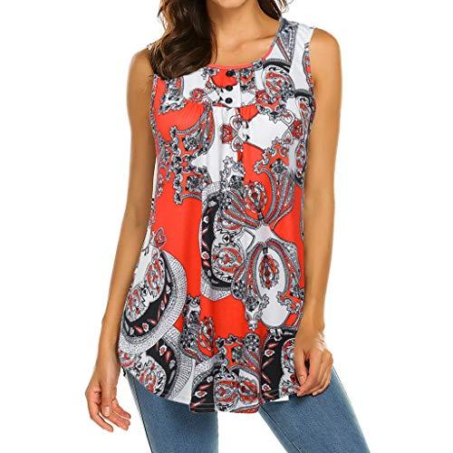 iHENGH Damen Top Bluse Bequem Lässig Mode T-Shirt Sommer Blusen Frauen Ärmelloses Damen Rundhals Blusen Shirt Lässige Flare Tunika Tanktop(Rot, 2XL)