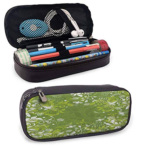 Green Pencil Case with Dual Zipper, Abstract Floral Ornaments Nature Inspired Artistic Branches Leaves Students Stationery Pouch Zipper Bag for Pens, Pencils, Markers Fern Green Apple Green White