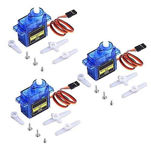 RUIZHI 3 Pcs SG90 Micro Servo Motor 9G Airplane Mini Servo per Robot RC Auto Elicottero Aereo Barca Telecomando (180°)