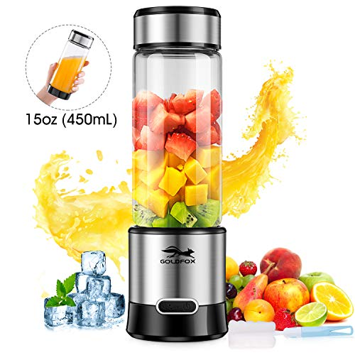 GOLDFOX Portable Blender USB Rechargeable Personal Blender for Shakes and Smoothies, 15oz Detachable Juicer Cup Small Smoothie Blender Fruit Mixer for Outdoor, FDA BPA Free (with Bottle Brush)