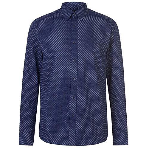 Pierre Cardin - Camisa de cuadros a rayas para hombre (XXL, NVY/Wht Geo)