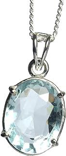 Collana con ciondolo di moda Ciondolo in argento 925 con pendente in acquamarina ovale da 32,50 ct blu per ragazze