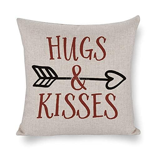 DKISEE Funda de almohada decorativa Hugs And Kisses 45 x 45 cm, funda de almohada con cremallera invisible, funda de almohada de...