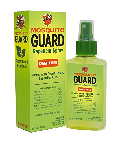 Mosquito Guard Natural Repellent Spray – Made with Plant Based Essential Oils: Citronella, Geraniol, Lemongrass - 4oz Bottle, Deet Free