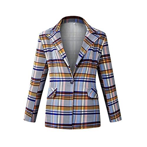 Herbst Und Winter Damen Casual Fashion Revers Plaid Print One-Button-Leiste Slim Langarm Blazer Jacke Damen