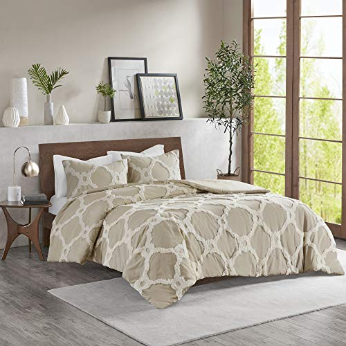 Madison Park Tufted Chenille 100% Cotton Duvet- Modern Luxe All Season Comforter Cover Bed Set with Matching Shams, Pacey, Ogee Taupe Full/Queen(90u0022x90u0022) 3 Piece