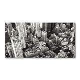 Tulup Cuadro en Acryl - 140x70cm - Mural Art Deco Wall plástico Vidrio Acrílico Cuadro Pintura Acrílica - Los espectáculos y la Arquitectura - En Blanco y Negro - Vuelo de pájaros Desde Nueva York