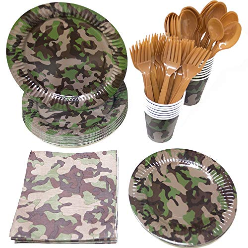 Blue Orchards Camo Party Standard Party Packs (65+ Pieces 16 Guests!), Camo Party Tableware, Hunting Party Supplies