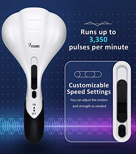 VIKTOR JURGEN Handheld Back Massager - Double Head Electric Full Body Massager - Deep Tissue Percussion Massage for Muscles, Head, Neck, Shoulder, Back, Leg, Foot -Best Gifts for Women/Men