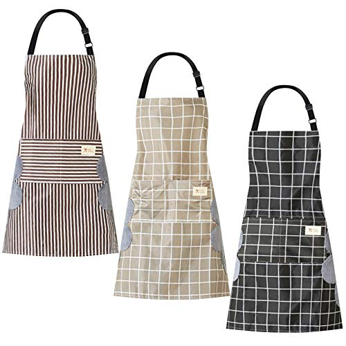 Ousuga Women Aprons with Pockets,3 Pack Adjustable Waterproof Cooking Aprons Kitchen Bib Apron Chef Apron for Home Kitchen Cooking Baking and Household Cleaning