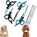 SABAN - 5 tagliacapelli per cani, taglia artigli gatto, forbici per animali da compagnia, in acciaio inossidabile, per cani e gatti con un pettine