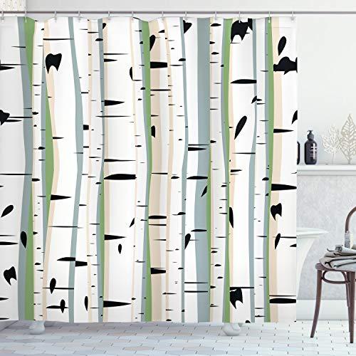 ABAKUHAUS Boom Douchegordijn, Stammen van Berken Pattern, stoffen badkamerdecoratieset met haakjes, 175 x 200 cm, Veelkleurig