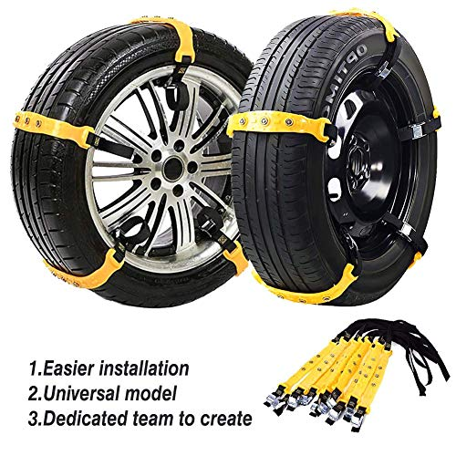 Jeremywell Snow Chains Anti-Skid Anti Slip Emergency Snow Tire Chains - Portable Emergency Traction Snow Mud Chains Universal Adjustable 10pcs Car Security Chains for SUV and Cars (Yellow-10pcs)