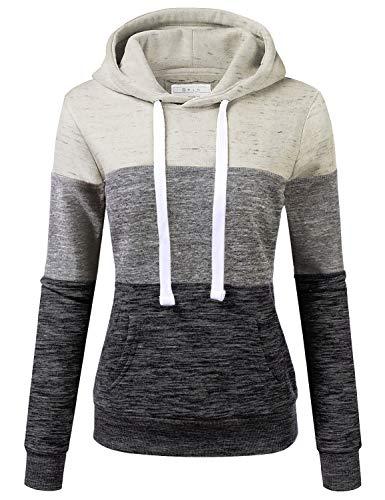 Doublju Women's Basic Simple Lightweight Pullover Long Sleeve Hoodie Oatmeal M