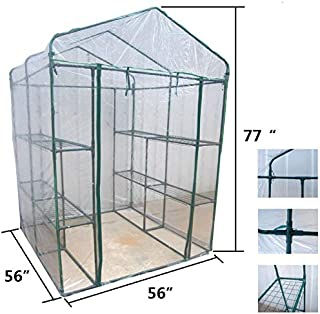 MTB Outdoor Portable Walk-in Garden Greenhouse 2 Tiers 8 Shelves with PVC Cover - 56