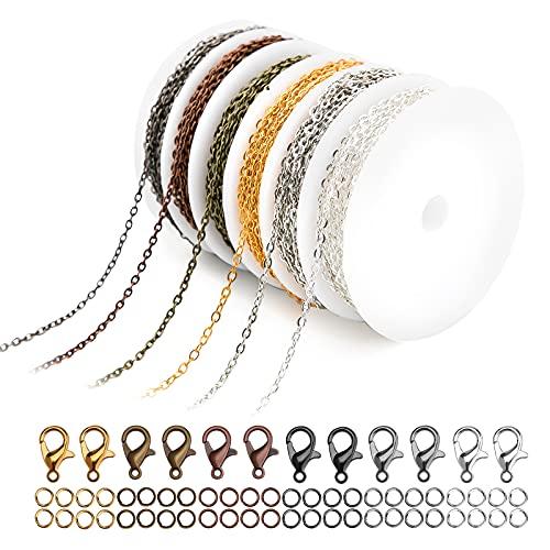 LUTER 2 mm 6 Couleurs Chaînes de Bijoux avec Anneaux de Saut Ouverts Fermoirs Homard pour L'artisanat de Bricolage, les Fournitures de Bijoux