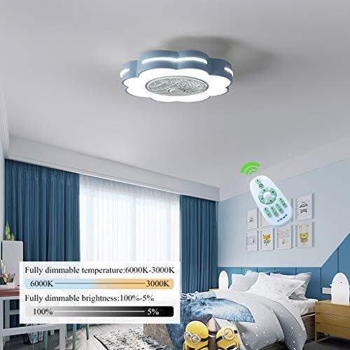 Ventilador De Techo Oculto La Luz Creativa De Con Con Mando A Distancia Regulable LED Ultra Silencioso Ventilador De Techo Moderna De La Sala Infantil De Techo Ventilador De Techo,Azul