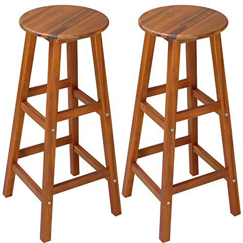 Deuba 2x Taburetes de bar marrónes altos de madera de acacia sillas de estilo colonial para barras salón cocina eventos