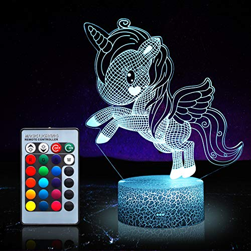 Einhorn Nachtlicht für Kinder, Einhorn Spielzeug für Mädchen, 16 Farben wechselnde Nachtlampe mit Fernbedienung (Einhorn 1170)
