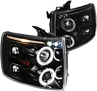 For Chevy Silverado 1500 2500 3500 LED+Halo Jet Black Projector Headlights Lamps