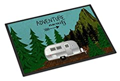 Airstream Camper Adventure Awaits Indoor or Outdoor Mat 18x27 VHA3022MAT Ships from our store in Mobile, AL usually in 24-48 hours. Transit times are usually about 2-3 days. INDOOR / OUTDOOR FLOOR MAT 18 inch by 27 inch Action Back Felt Floor Mat / C...