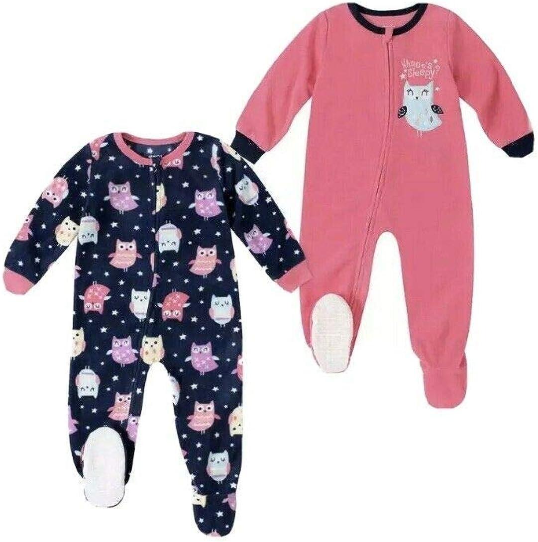 absorba 2-Pack Blanket Sleeper Pink Owl 4T Pajamas Footed Set