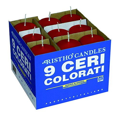 Cereria di Giorgio Risthò Ceri, Cera, Rosso, 5x5x12 cm, 9 unità
