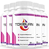 (5 Pack) Toxiburn Weight Loss Pills Liver Cleanse Diet Capsules Supplements Reviews Toxi Burn Advanced Formula Pills (300 Capsules)