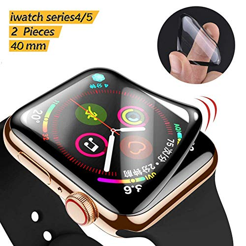 for Apple Watch 40mm Series 5 /Series 4 Screen Protector,[2 Pack] HD Clear Flexible Premium TPU Film for iWatch 40mm [Bubble-Free] [No Lifted Edges]