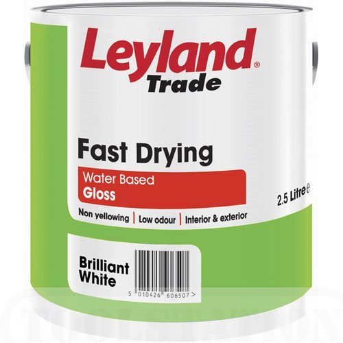 Leyland Trade Fast Drying Water Based Gloss Brilliant White 2.5L