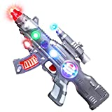 ArtCreativity Light Up Spin Ball Blaster Toy Gun, 12.5 Inch Assault Rifle with Thrilling Multicolor LEDs and Sound Effects, Batteries Included, Really Cool Play Gun for Boys and Girls, Great Gift Idea