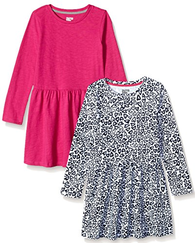 Spotted Zebra Girls Toddler /& Kids 2-Pack Knit Short-Sleeve Cinch Waist Dresses