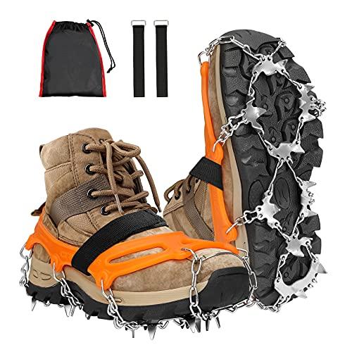 ESMART Crampones Nieve XL, 24 Dientes de Acero Inoxidable Crampones Hielo Antideslizantes, Raquetas de Nieve para Actividades al Aire Libre: Senderismo, Camping, Caminata, Pesca y Uso Diaria