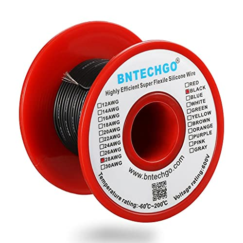 BNTECHGO 28 Gauge Silicone wire spool 100 ft Black Flexible 28 AWG Stranded Tinned Copper Wire